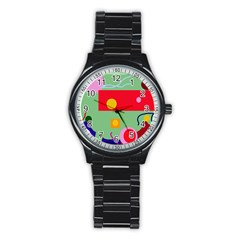 Optimistic Abstraction Stainless Steel Round Watch by Valentinaart