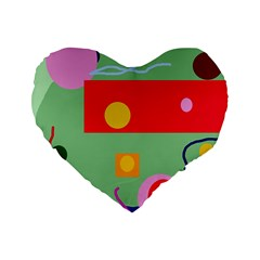 Optimistic Abstraction Standard 16  Premium Flano Heart Shape Cushions by Valentinaart