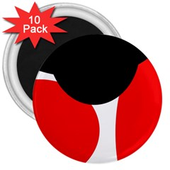 Red, Black And White 3  Magnets (10 Pack)  by Valentinaart