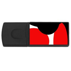 Red, Black And White Usb Flash Drive Rectangular (4 Gb)  by Valentinaart