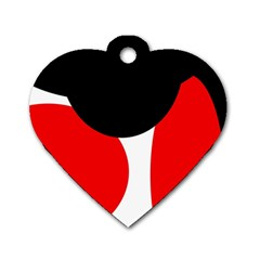 Red, Black And White Dog Tag Heart (two Sides) by Valentinaart