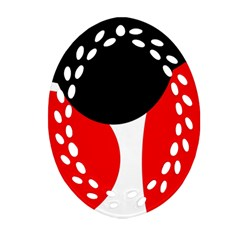 Red, Black And White Ornament (oval Filigree)  by Valentinaart