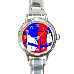 Blue, Red, White Design  Round Italian Charm Watch by Valentinaart