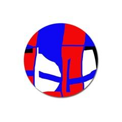 Blue, Red, White Design  Magnet 3  (round) by Valentinaart