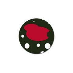 Red, Black And White Abstraction Golf Ball Marker by Valentinaart