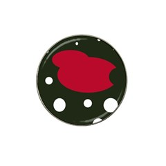 Red, Black And White Abstraction Hat Clip Ball Marker (4 Pack) by Valentinaart