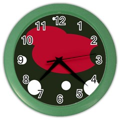 Red, Black And White Abstraction Color Wall Clocks by Valentinaart