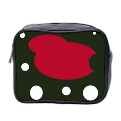 Red, Black And White Abstraction Mini Toiletries Bag 2 Side by Valentinaart