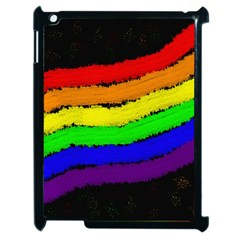 Rainbow Apple Ipad 2 Case (black) by Valentinaart