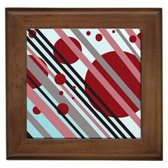 Colorful Lines And Circles Framed Tiles by Valentinaart