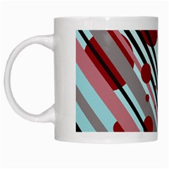 Colorful Lines And Circles White Mugs by Valentinaart