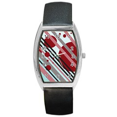 Colorful Lines And Circles Barrel Style Metal Watch by Valentinaart