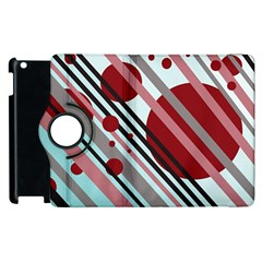 Colorful Lines And Circles Apple Ipad 2 Flip 360 Case by Valentinaart
