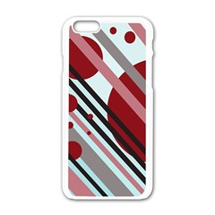 Colorful Lines And Circles Apple Iphone 6/6s White Enamel Case by Valentinaart