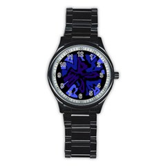 Deep Blue Abstraction Stainless Steel Round Watch by Valentinaart