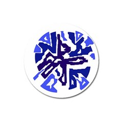 Deep Blue Abstraction Magnet 3  (round) by Valentinaart