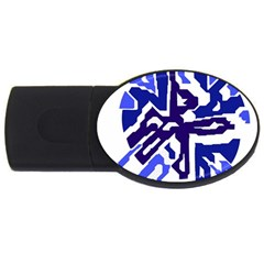 Deep Blue Abstraction Usb Flash Drive Oval (4 Gb)  by Valentinaart