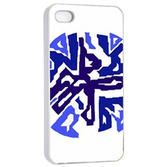 Deep Blue Abstraction Apple Iphone 4/4s Seamless Case (white) by Valentinaart