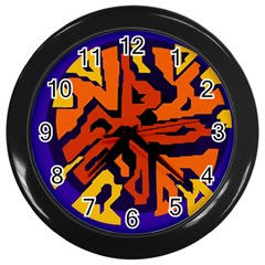 Orange Ball Wall Clocks (black) by Valentinaart