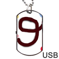 Number nine Dog Tag USB Flash (Two Sides)  by Valentinaart
