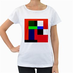 Colorful Abstraction Women s Loose Fit T Shirt (white) by Valentinaart