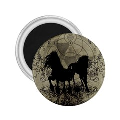 Wonderful Black Horses, With Floral Elements, Silhouette 2 25  Magnets by FantasyWorld7