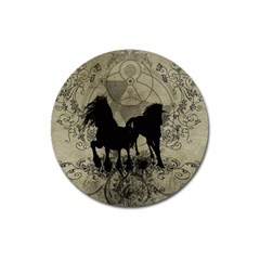 Wonderful Black Horses, With Floral Elements, Silhouette Magnet 3  (round) by FantasyWorld7
