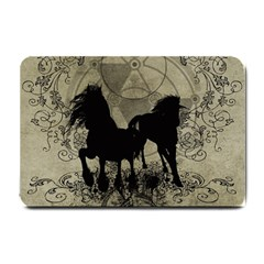 Wonderful Black Horses, With Floral Elements, Silhouette Small Doormat  by FantasyWorld7