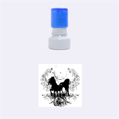 Wonderful Black Horses, With Floral Elements, Silhouette Rubber Round Stamps (Small) by FantasyWorld7