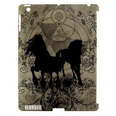 Wonderful Black Horses, With Floral Elements, Silhouette Apple Ipad 3/4 Hardshell Case (compatible With Smart Cover) by FantasyWorld7
