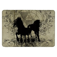 Wonderful Black Horses, With Floral Elements, Silhouette Samsung Galaxy Tab 8 9  P7300 Flip Case by FantasyWorld7