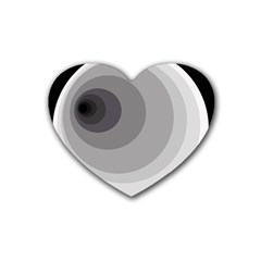 Gray Abstraction Rubber Coaster (heart)  by Valentinaart