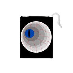 Blue Eye Drawstring Pouches (small)  by Valentinaart