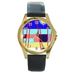 Abstract Landscape Round Gold Metal Watch by Valentinaart