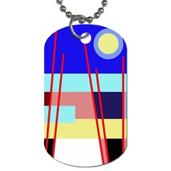 Abstract Landscape Dog Tag (two Sides) by Valentinaart