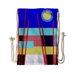 Abstract Landscape Drawstring Bag (small) by Valentinaart