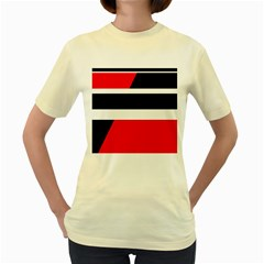 Red, White And Black Abstraction Women s Yellow T Shirt by Valentinaart