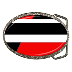 Red, White And Black Abstraction Belt Buckles by Valentinaart