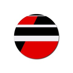Red, White And Black Abstraction Rubber Coaster (round)  by Valentinaart