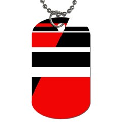 Red, White And Black Abstraction Dog Tag (two Sides) by Valentinaart