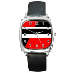 Red, White And Black Abstraction Square Metal Watch by Valentinaart
