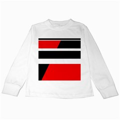 Red, White And Black Abstraction Kids Long Sleeve T Shirts by Valentinaart