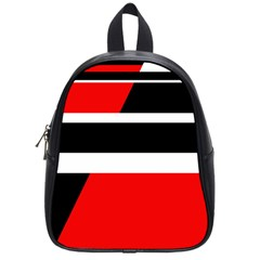 Red, White And Black Abstraction School Bags (small)  by Valentinaart