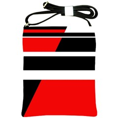Red, White And Black Abstraction Shoulder Sling Bags by Valentinaart