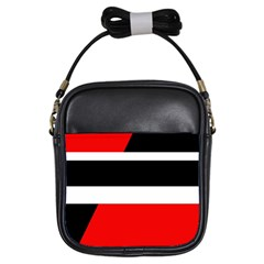 Red, White And Black Abstraction Girls Sling Bags by Valentinaart