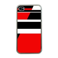 Red, White And Black Abstraction Apple Iphone 4 Case (clear) by Valentinaart
