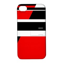 Red, White And Black Abstraction Apple Iphone 4/4s Hardshell Case With Stand by Valentinaart