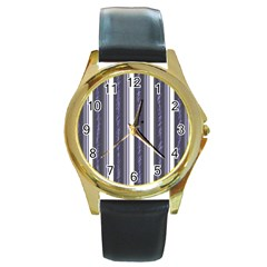 Elegant lines Round Gold Metal Watch by Valentinaart