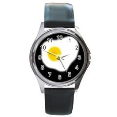 Egg Round Metal Watch by Valentinaart