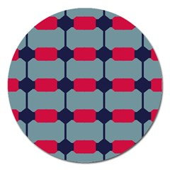 Red Blue Shapes Pattern                                                                                     magnet 5  (round) by LalyLauraFLM